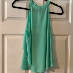ASTR - bright teal/green high neck, open back top